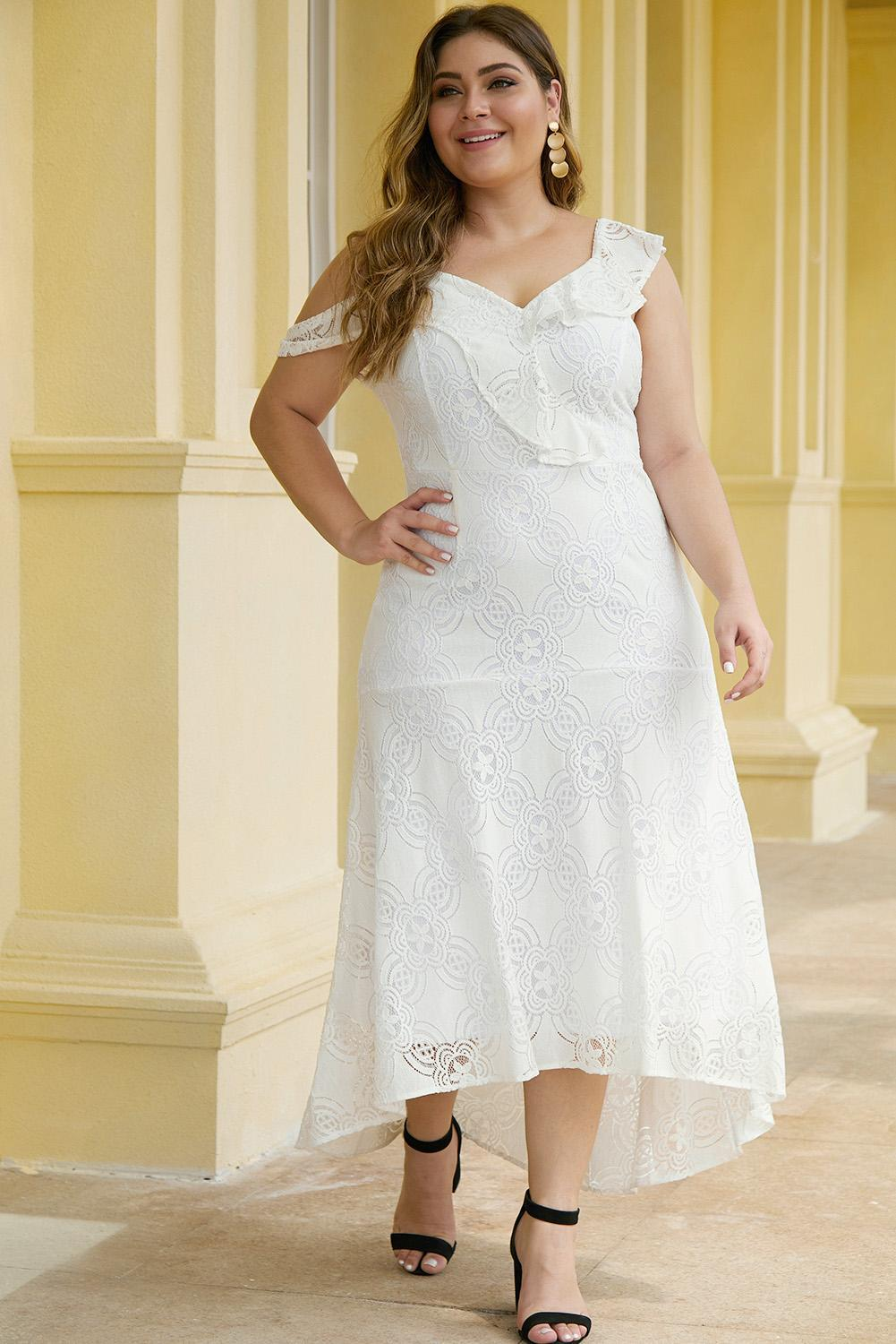 Asymmetric Ruffle Shoulder Design Plus Size White