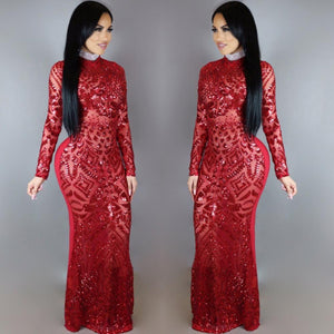 Indian Sari Long Sleeve Round Neck Long Maxi Dress
