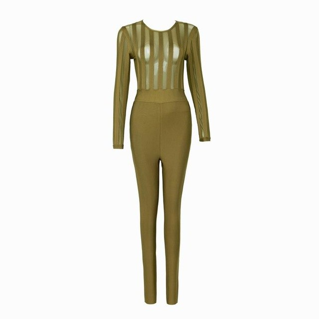Sexy Long Sleeve Mesh Bandage Celebrity Designer  Jumpsuit
