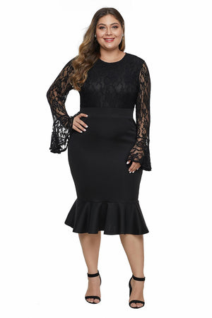 Bodice Bell Sleeve Ruffled Plus Size Lace Dresses