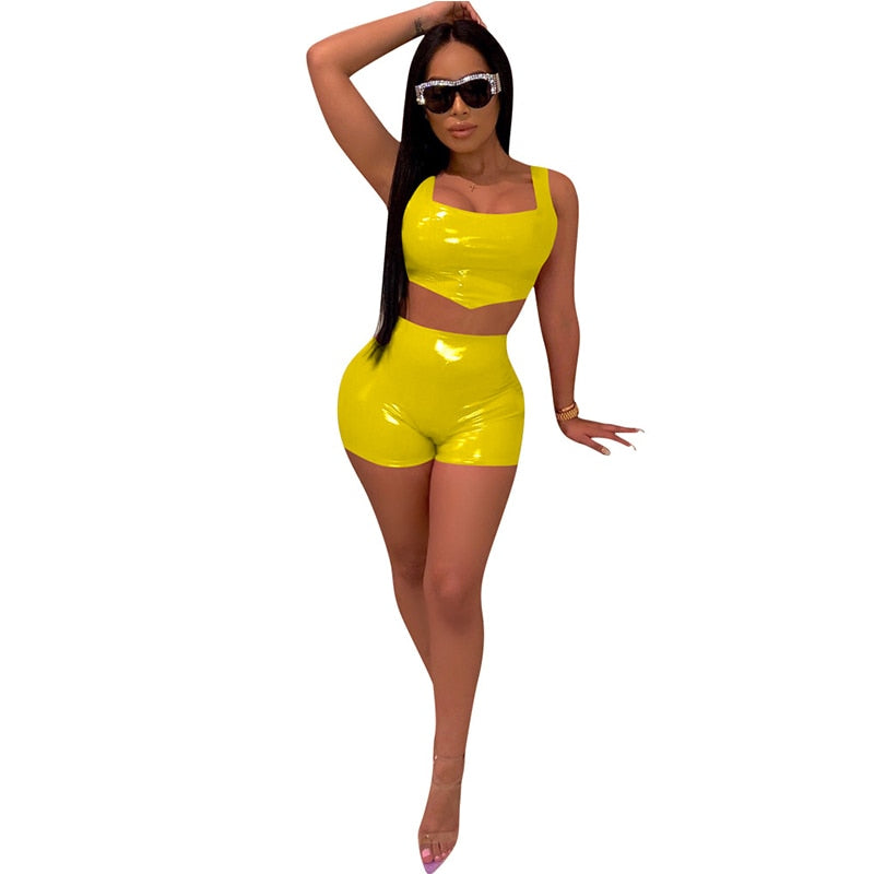 Two Piece Sexy Solid Color PU Sling Lumbar Slim Short Set