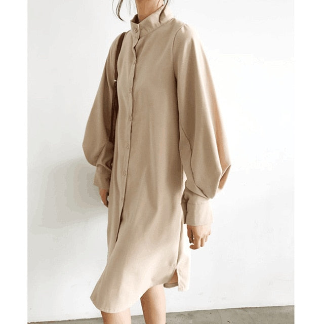 Lantern Sleeve Stand Collar Single Breasted Slit Long Dress
