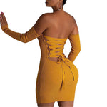 Knitted Long Sleeve Mini Bandage Off Shoulder Backless Lace Up Bodycon Dress