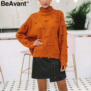 Batwing Sleeve Knitted  Twist  Round Neck Pullover Sweater
