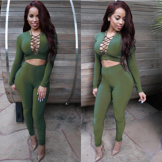 Two pieces Long Sleeve Bandage Sexy Crop Tops And Pants Sets