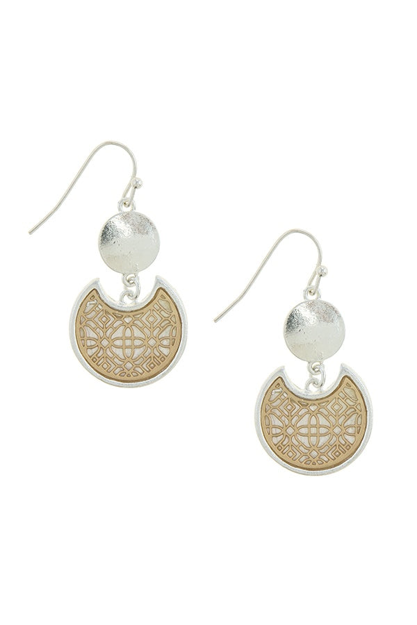 Laser Cut Filigree Moon Drop Earrings