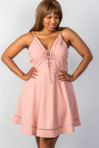 Lace-up Midi Plus Size Dress, Blush