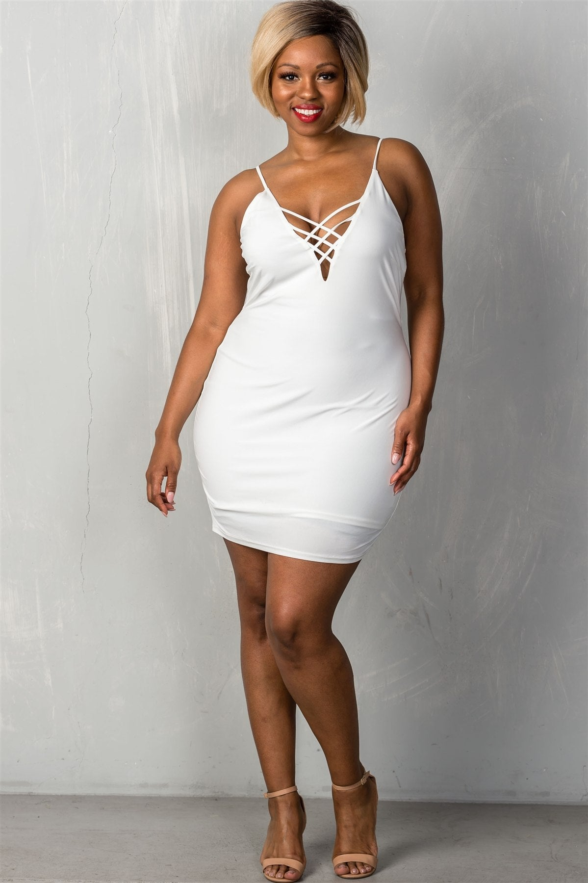 Stretchy Adjustable Straps Mini Length Criss Cross V-neck Plunge Dress, White