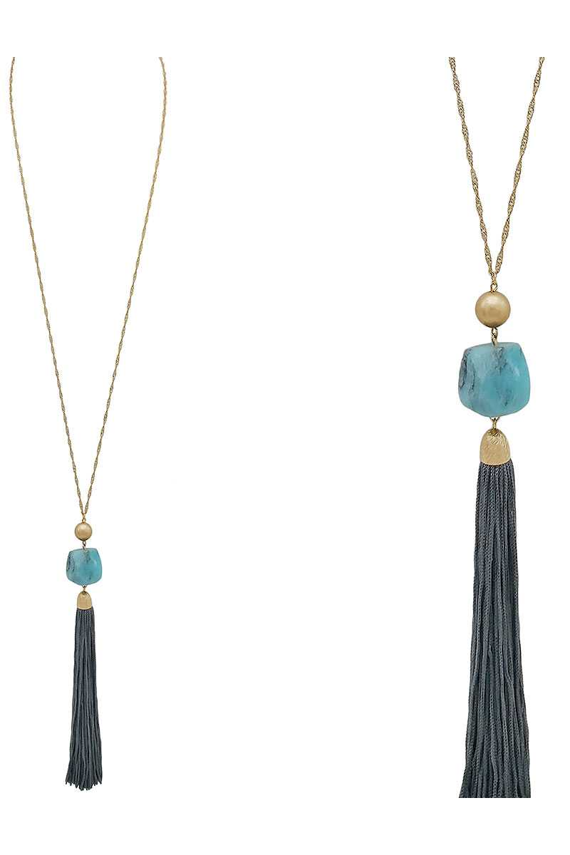 Natural stone leather tassel pendant necklace