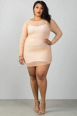 Sheer Mesh Ruched Long Sleeve Epic Mini Dress, Nude