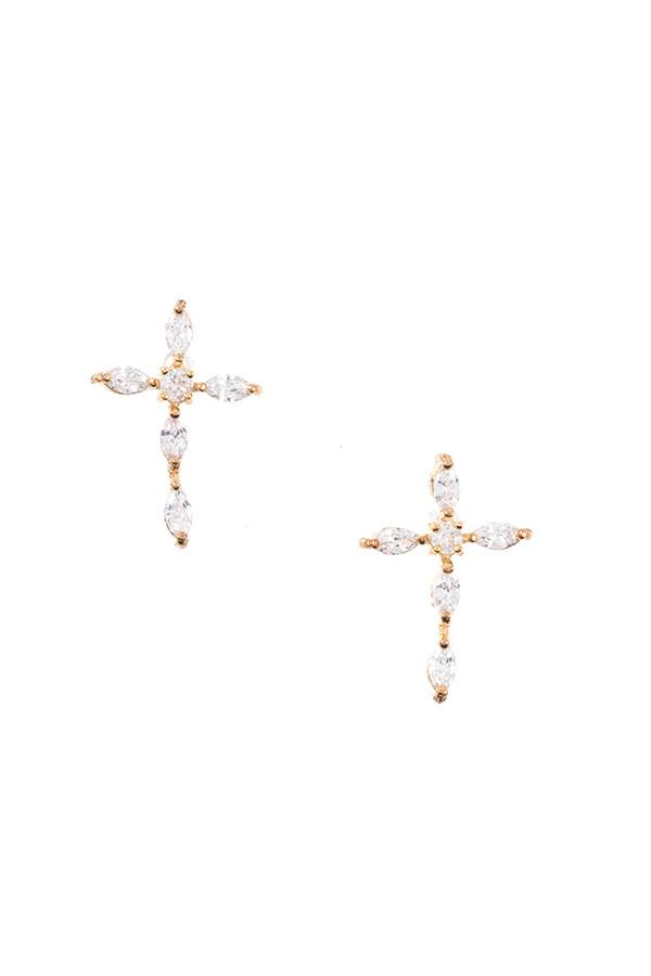 Cubic Zirconia Stone Pave Cross Post Earrings
