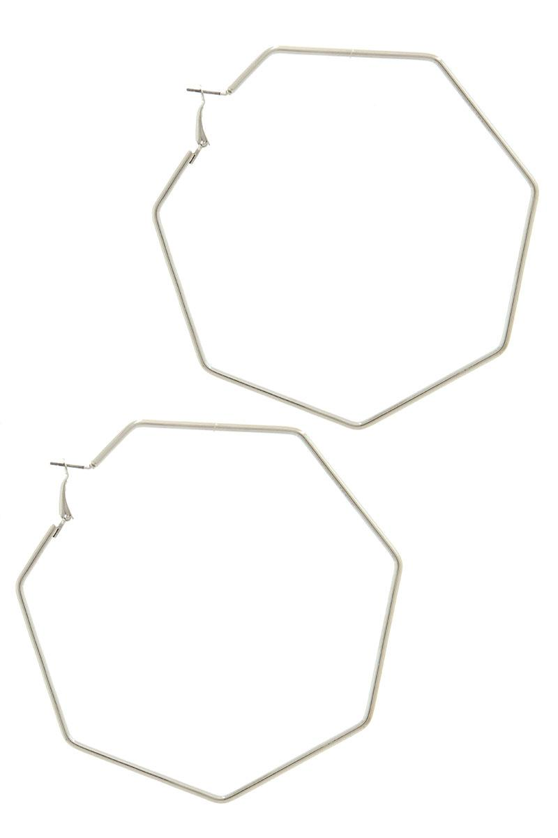 Heptagon Shape Hoop Earrings