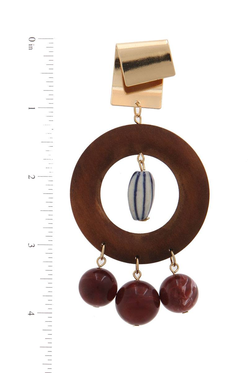 Cut Out Circle Bead Drop Earrings