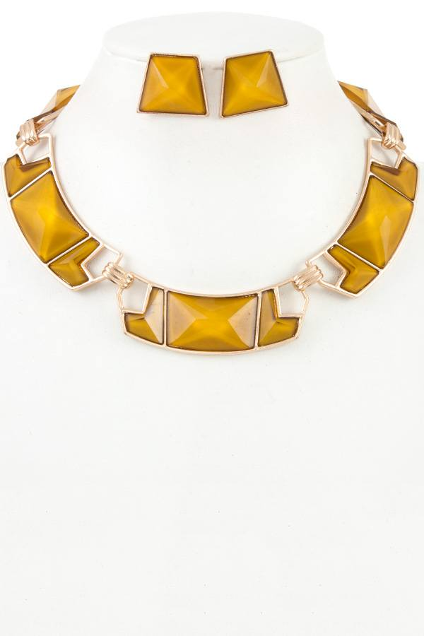 Faceted Geo Shaped Link Necklace Set
