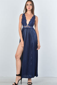 Boho Lace Double Split Maxi Dress Navy