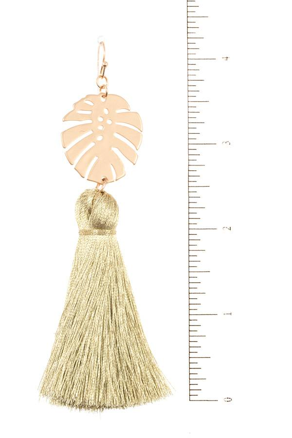 Leaf Link Tassel Earrings