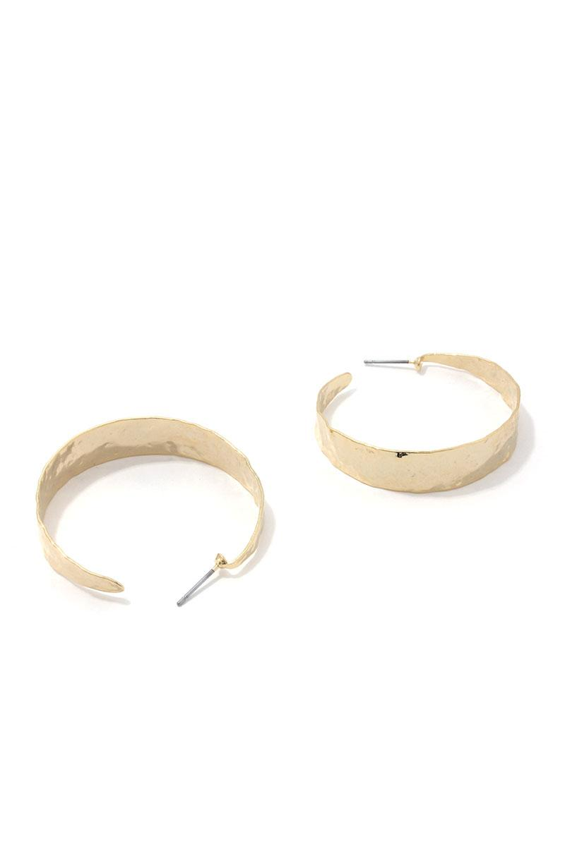 Hammered Wide Open Circle Drop Earrings