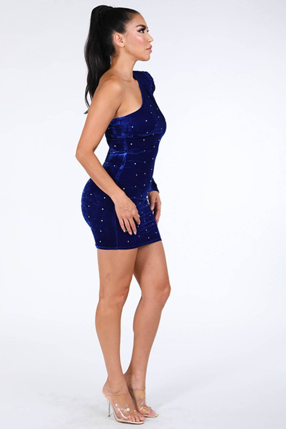 Rhinestone One Shoulder Blue Velvet Dress
