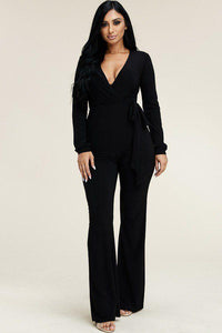 Sexy Solid Long Sleeve Wide Leg Black Jumpsuit With Tie Waist
