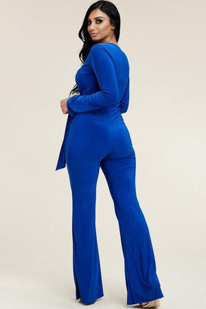 Sexy Solid Long Sleeve Wide Leg Blue Jumpsuit With Tie Waist