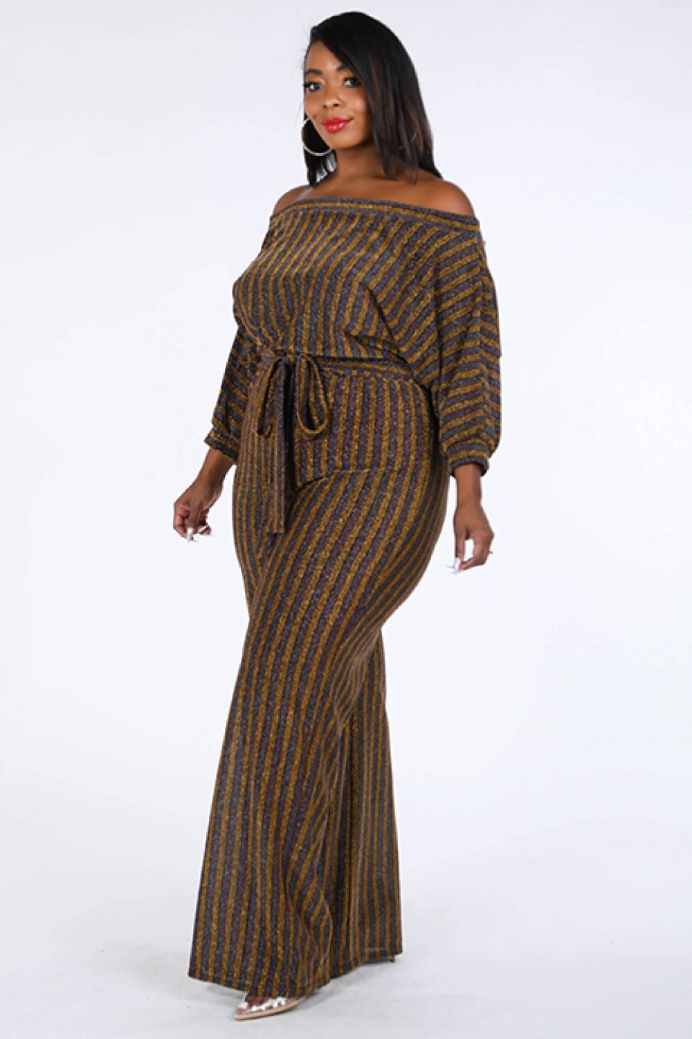 Sexy Metallic Stripe Off The Shoulder Jumpsuit