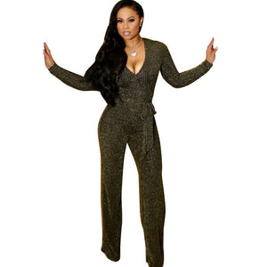 Sexy Deep V Neck Glitter Wide Leg Long Sleeve Elegant Romper with Sashes Ribbed Jumpsuit