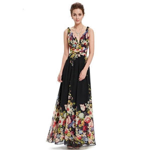 Sexy Double V-neck Sleeveless Black Long Flower Print Chiffon Evening Gown