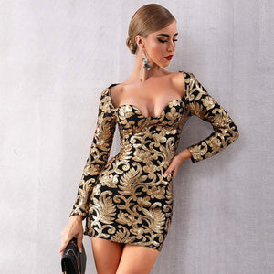 Celebrity Elegant Sexy Long Sleeve Sequines Deep V Gold Mini Club Dress