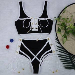 Lace High Waist Push Up Bikini Set Swimsuit