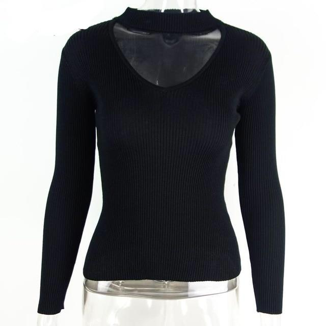 Casual Long Sleeve Knitted Halter V-neck Sweater