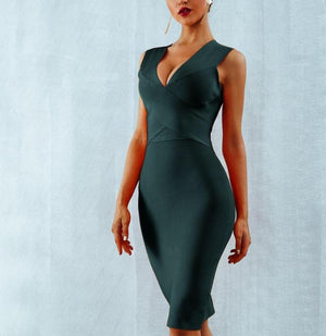 Bandage Tank Sexy Deep V-Neck Sleeveless Bodycon Celebrity Dress