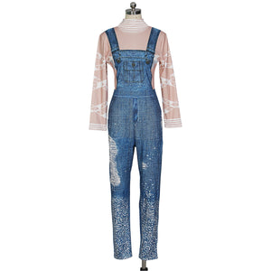 Sexy Print Strap Pocket Denim Casual Loose Jumpsuit