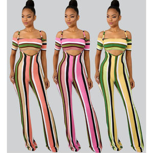 Sexy off shoulder Striped Printed Bodycon Jumpsuit