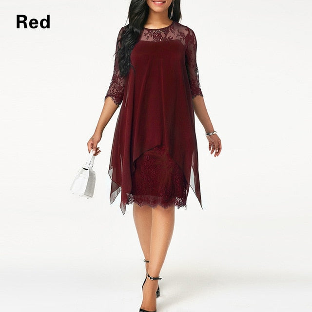 Chiffon Overlay Three Quarter Sleeve Stitching Irregular Hem Lace Dress