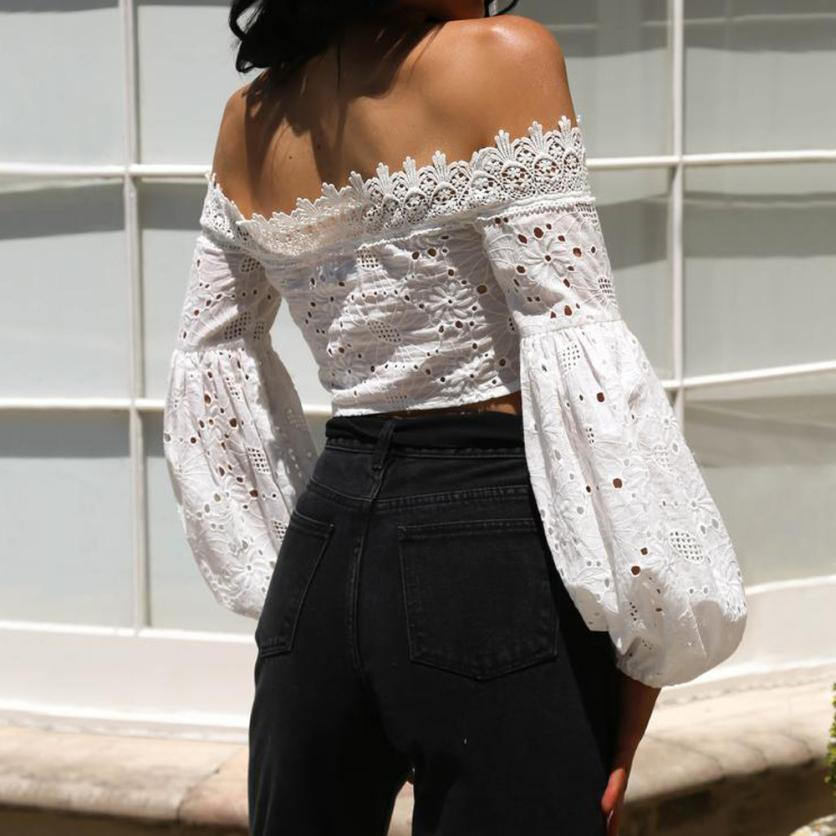 Lace Slash Neck Backless Off Shoulder Solid Long Flare Sleeve Ruffle Chiffon Crop Top
