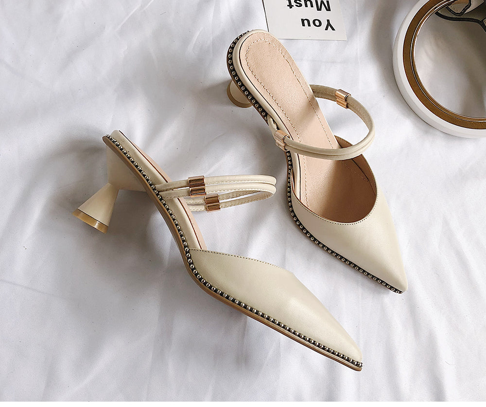 Genuine Leather Buckle Strap Strange Style Heel Shoes