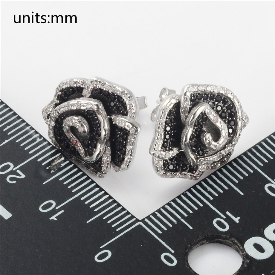 Sterling Silver Black and White Cubic Zirconia Earrings 925
