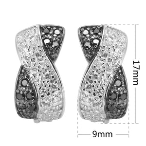 Sterling Silver Jewelry  White Black Cubic Zirconia Earrings 925