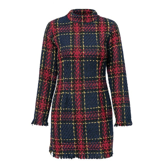 Elegant Plaid Tweed Long Sleeve Tassel Dress
