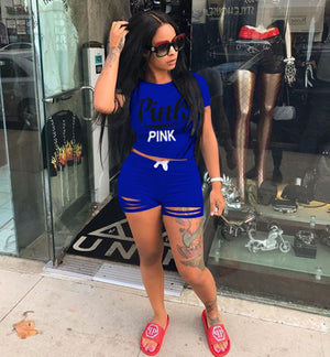 Pink Letter Print Two Piece Set Tracksuit