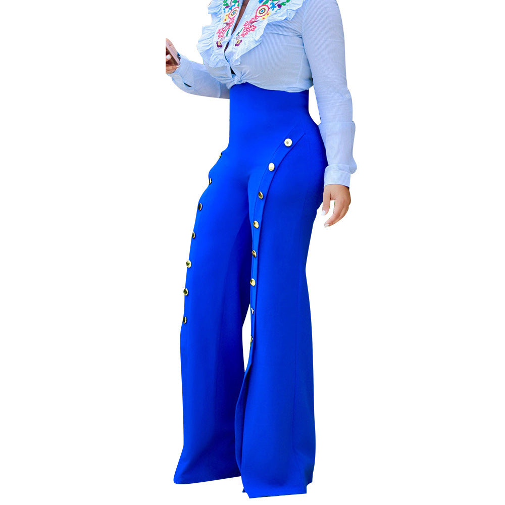Palazzo High Waist Wide Leg Long Pants Button Casual Trousers