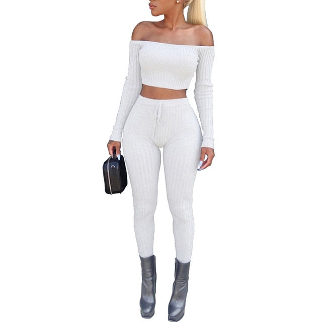 Sexy Bodycon Bandage  Off Shoulder Criss Two Piece Set