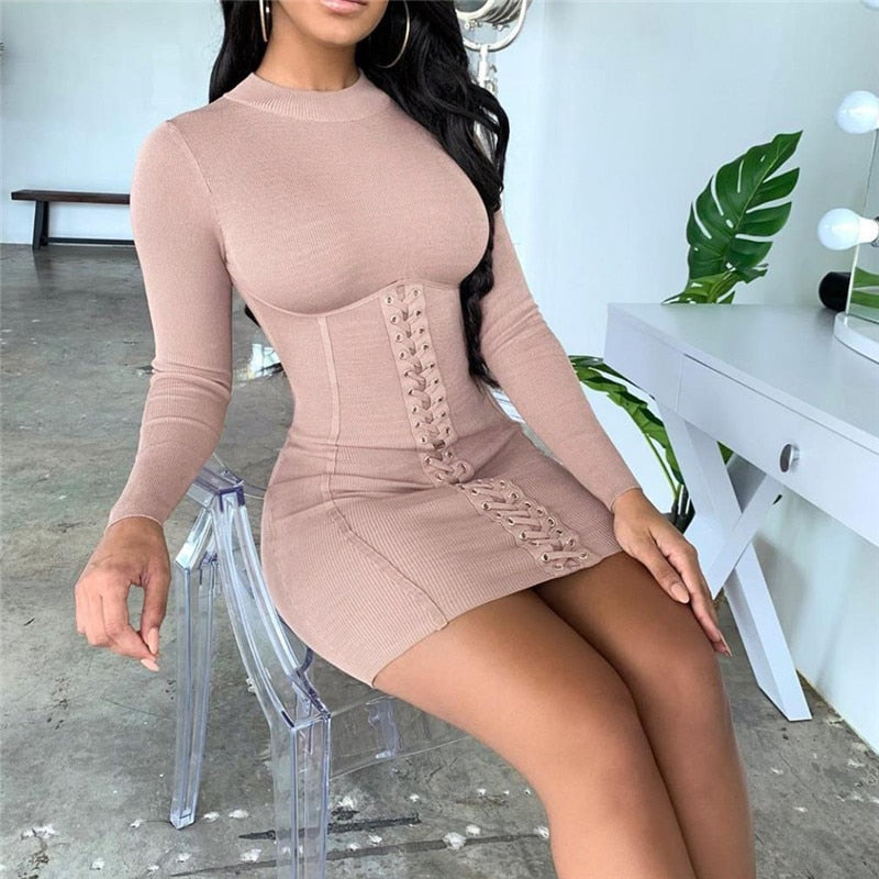 2020 Sexy Long Sleeve Solid Casual Mini Bodycon Knitted Dress