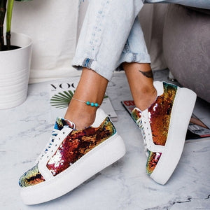 Women Sneakers Plateform Glitter Shinny