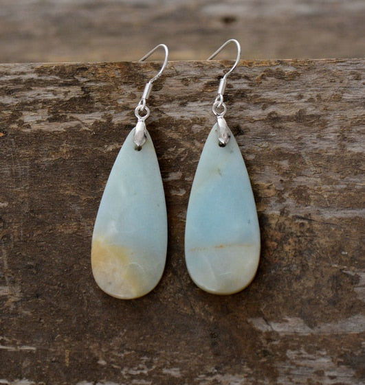 Women Drop Earrings Natural Teardrop Amazonite