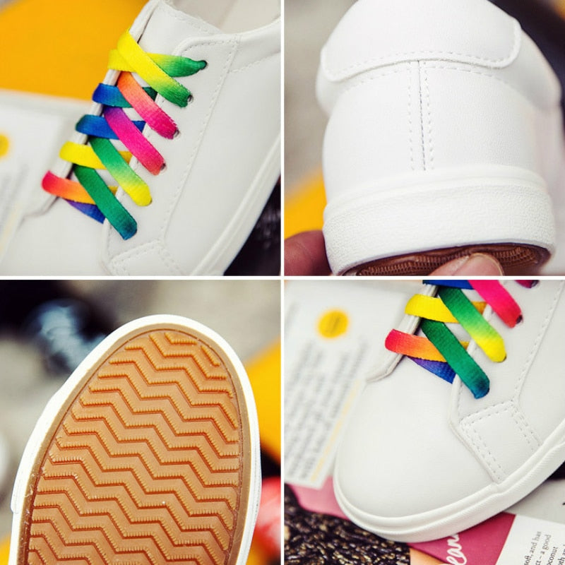New Low-cut Lace-up PU Leather Fashion Sneakers Woman