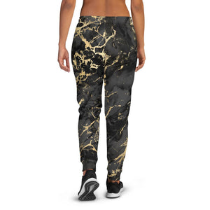 Women's Gold Black Marble Joggers