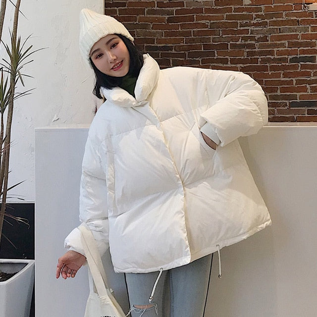 2019 Stand Collar Solid Down Loose Short Parka Coat