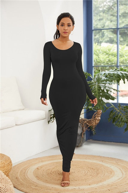 New Long Sleeve Round Neck Long High Stretchy Bodycon Package Hip Maxi Dress