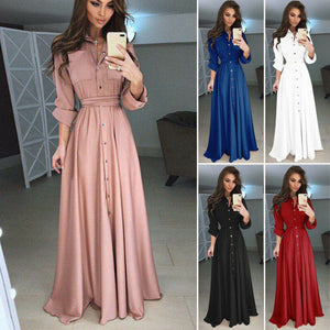 New Vintage Long Sleeve Button Pocket Lace Up Belt Bodycon Maxi Dress